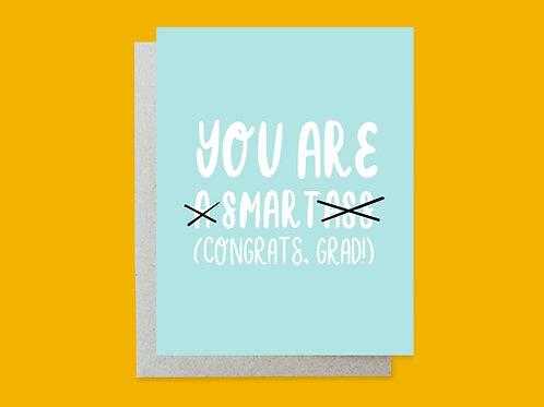 Smartass Grad Handlettered Greeting Card