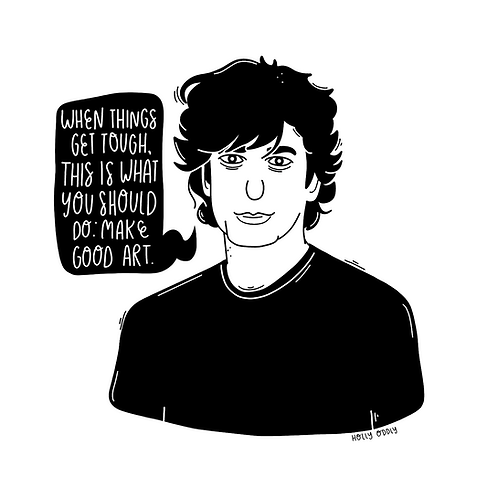 Neil Gaiman 4x4 Print (Print Only. No Framed Included.)