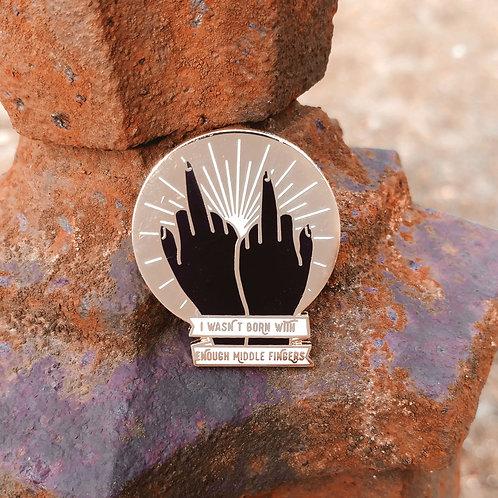 Middle Finger Hard Enamel Pin, Black or White