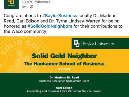 Dr. Tyrha Lindsey-Warren Recognized by Baylor's Solid Gold Neighbor for Community Involvement