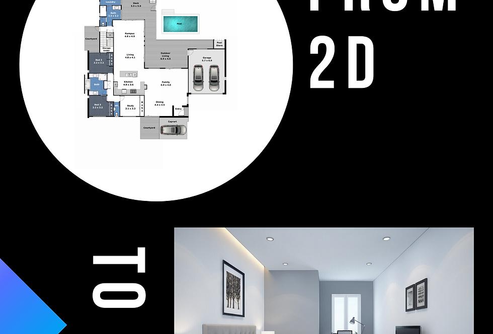 From 2D Floor Plan to 3D Interior Rendering