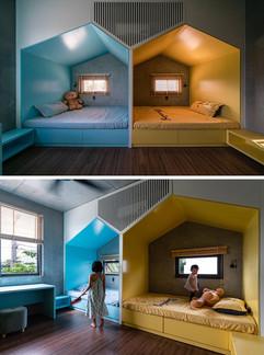 Mavi Sarı renkte çocuk odası tasarımı