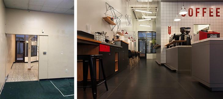 Kahve dükkanı iç ve cephe tasarımı Öncesi sonrası