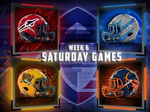 Week 6 AAF Saturday Game Previews