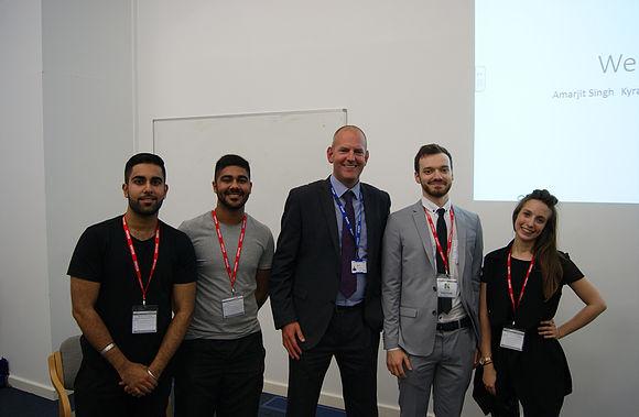 Alumni Students. Amarjit Singh, Kyran Sidhu Stephen Gould ( BSC Birmingham) and Jessica Labhart (MA Cambridge)