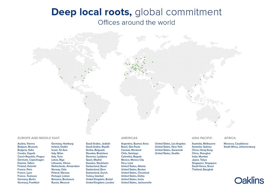 Oaklins worldmap locations Jan2020 lands