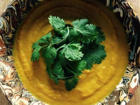 Soupe carotte, curry, coco, coriandre