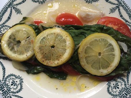 Papillote de cabillaud aux blettes et tomates