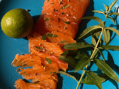 Gravlax de saumon à la verveine citronnelle