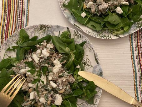 Salade d'aubergine rôtie et féta