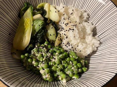 Petits pois au Zaatar et tofu soyeux, Pak Choï sautés au wok