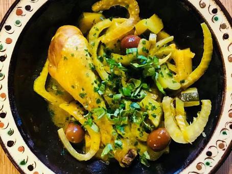 Tajine de poulet au citron confit et fenouil