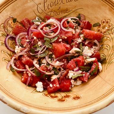 Comme une salade de tomates !... Pastèque, féta, basilic