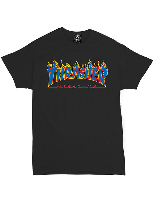 REMERA BLUE FLAME NEGRA THRASHER