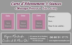Verso Carte d'Abonnement Massage 3 séanc