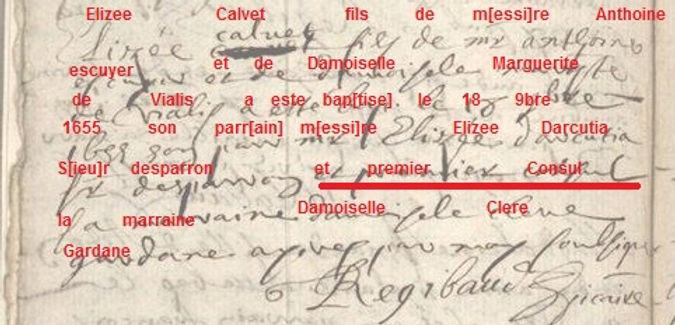 Elisée d'ARCUSSIA Premier Consul d'Hyères en 1655