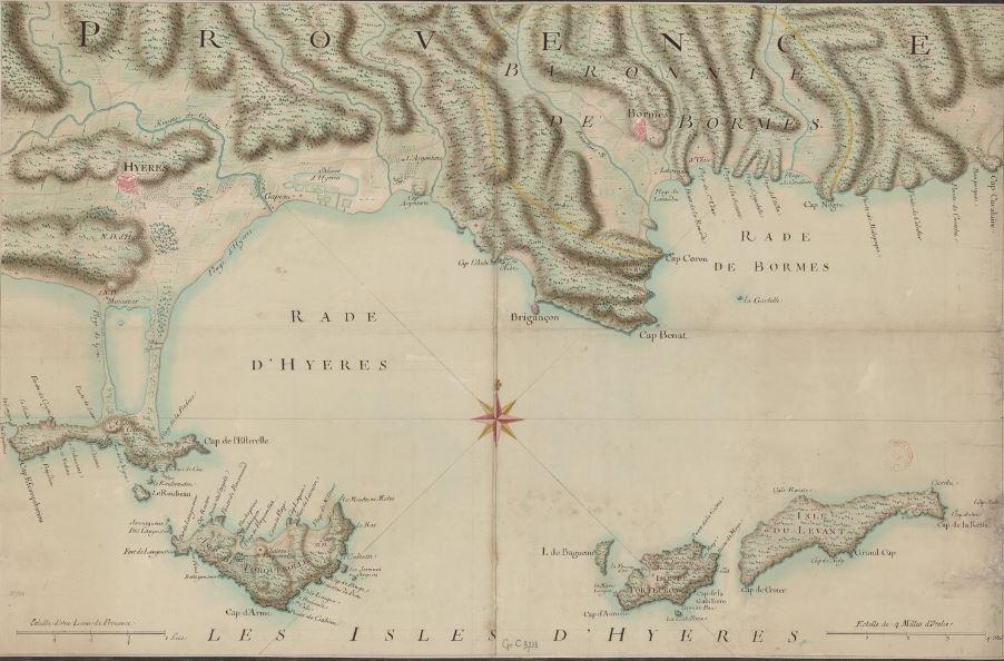 Carte des îles d'Hyères