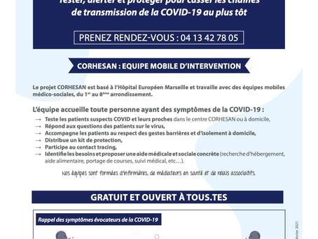 Accompagnement médico-social des patients suspects de COVID-19 autour de l'Hôpital Européen.
