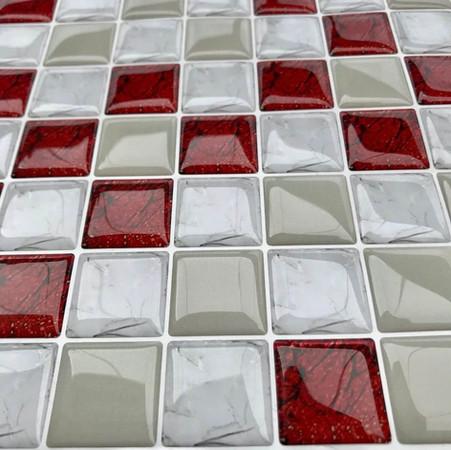 Pastilhas adesivas resinadas Mosaico Luxo Vermelho