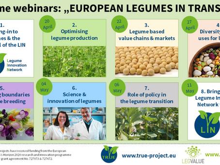 14.4 - 5.11.2021: European Legumes in Transition Webinar-Series