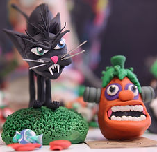 Halloween Cat and Pumpkin Claymation for Stop Motion