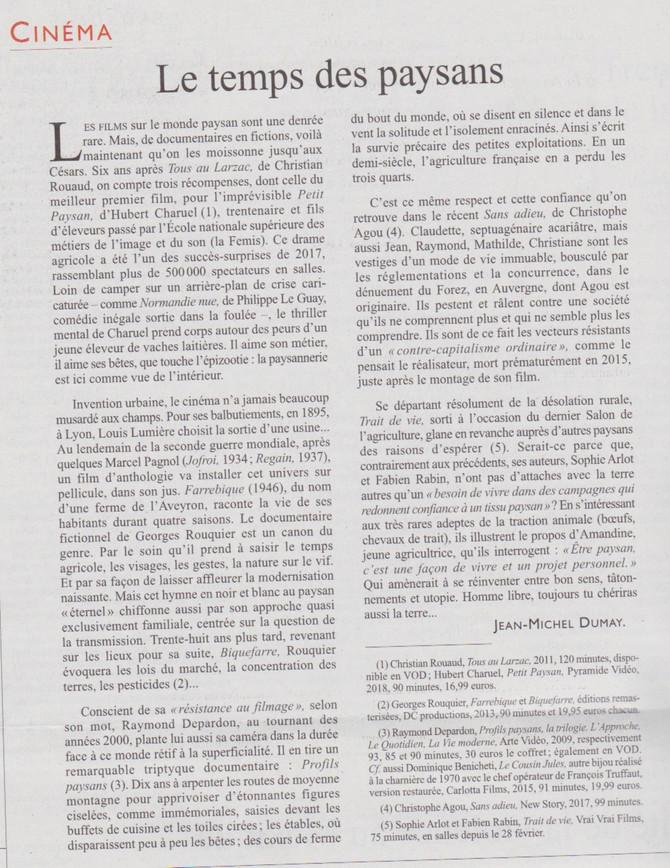 """Le Monde diplomatique parle de """"Trait de vie"""""""