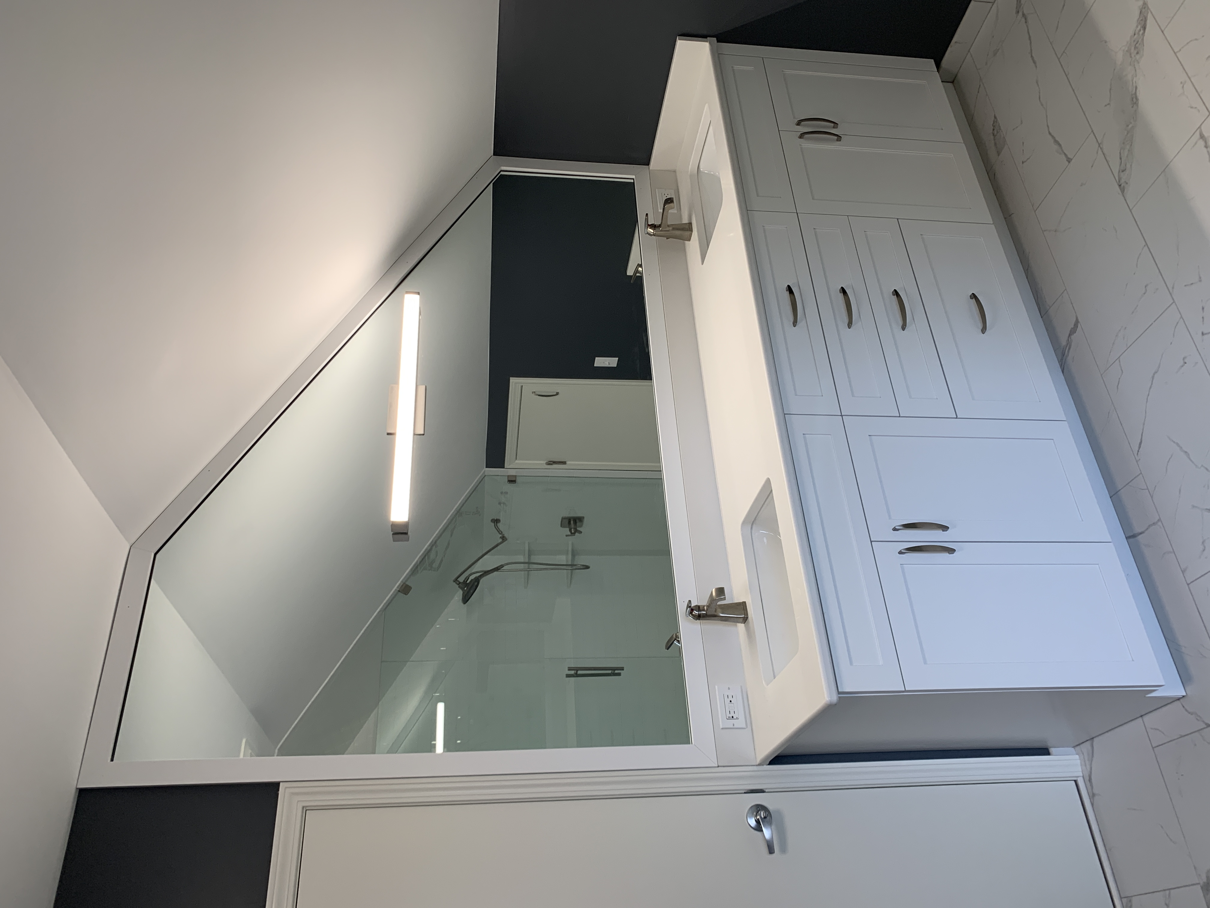 White Vanity w/ Angled Mirror