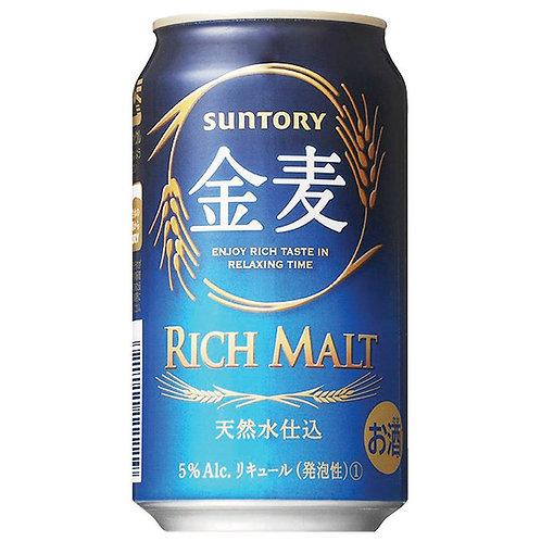 Suntory Rich Malt Kinmugi 三得利天然水金麥啤酒 (Box/箱 of 24 Cans罐)