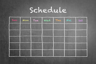 Schedule with grid time table on black c