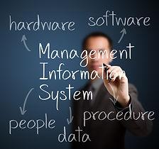 business man writing management informat