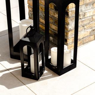 13-black lantern-outdoor decor-black can
