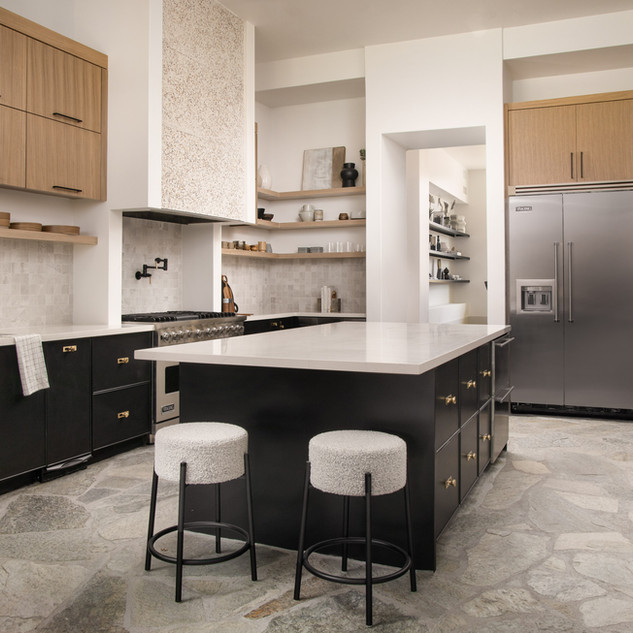 57-stone kitchen-flagstone floors-oak ki