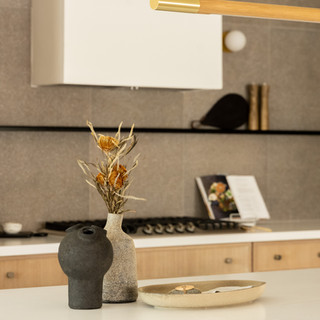 14-Simply Nordic-Scandinavian-Minimalistic-White oak-concrete-Terrazzo-Black Metal Stools-Undermount Lighting-Kitchen Decor-Backsplash Tile.jpg