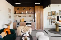 3-glass wall office-black swivel chair-Scandinavian-industrial commercial design-mid centu