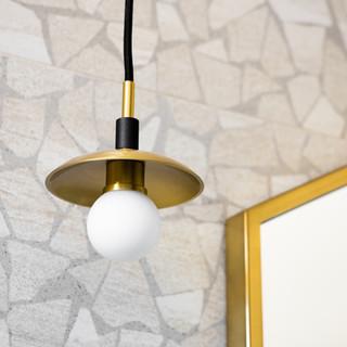 27-hexagon mirror-tiled vanity wall-bras