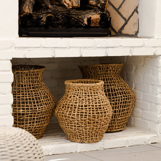 8-brick fireplace-baskets-rattan baskets