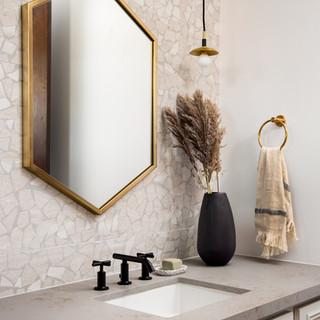 24-hexagon mirror-tiled vanity wall-bras