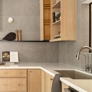 9-Simply Nordic-Scandinavian-Minimalistic-White oak-concrete-Terrazzo-Black Metal Stools-Wooden Slat Door-Undermount Lighting-Kitchen Decor-Backsplash Tile.jpg