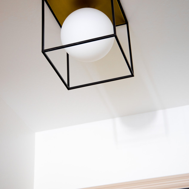 47-modern flush mount-brass and black li