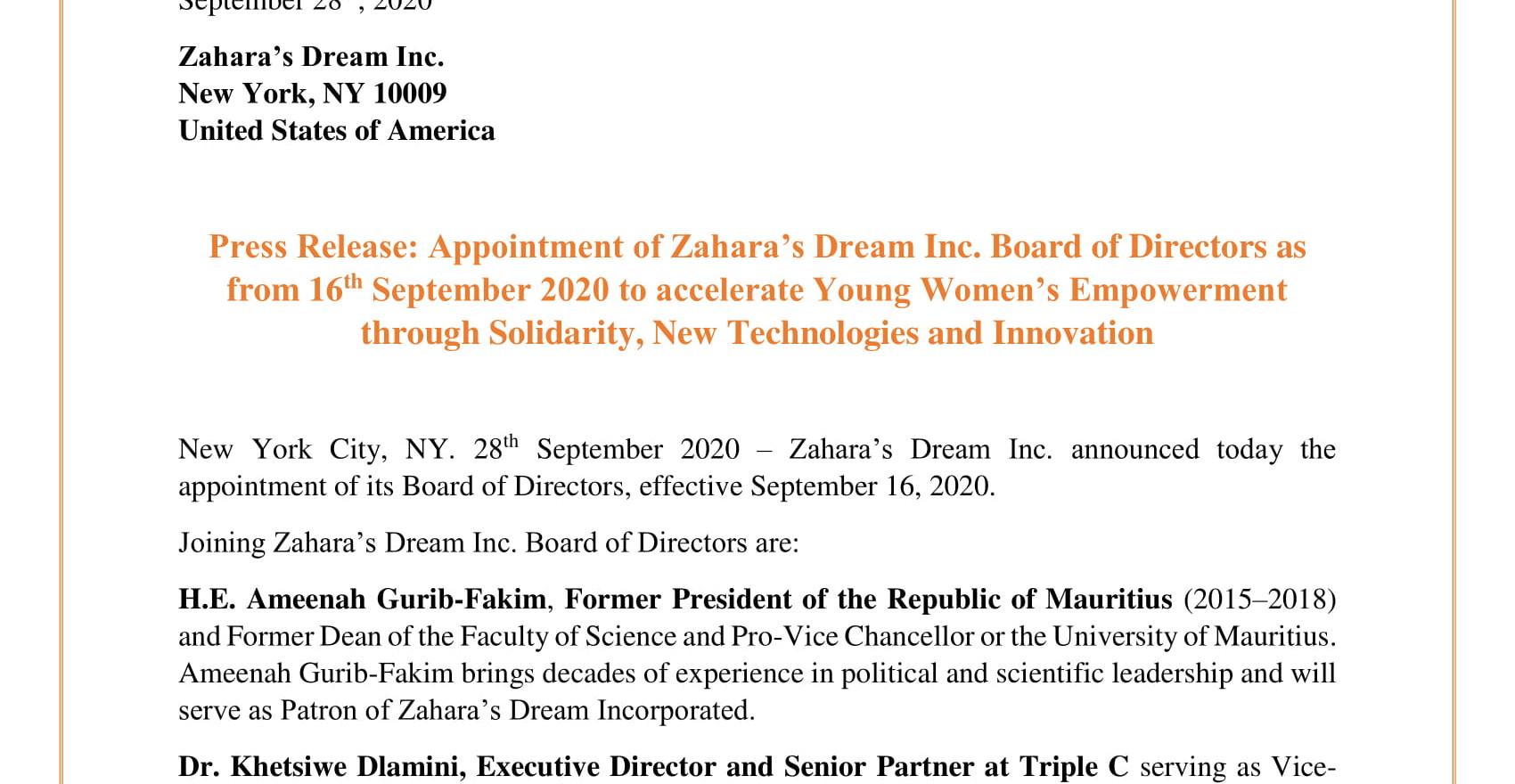 Press Release Zahara's Dream Inc. Board of Directors