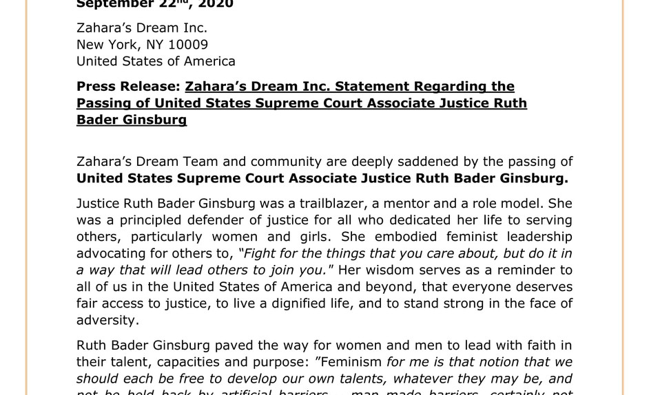 Zahara's Dream Inc. Statement Regarding the Passing of United States Supreme Court Associate Justice Ruth Bader Ginsburg