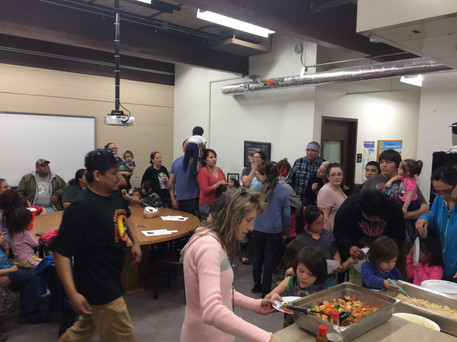 The UTTC VISTA leads a cooking class and gardening workshop for families at the Land Grant office at United Tribes Technical College. This class is part of the Family and Children Education (FACE) program.