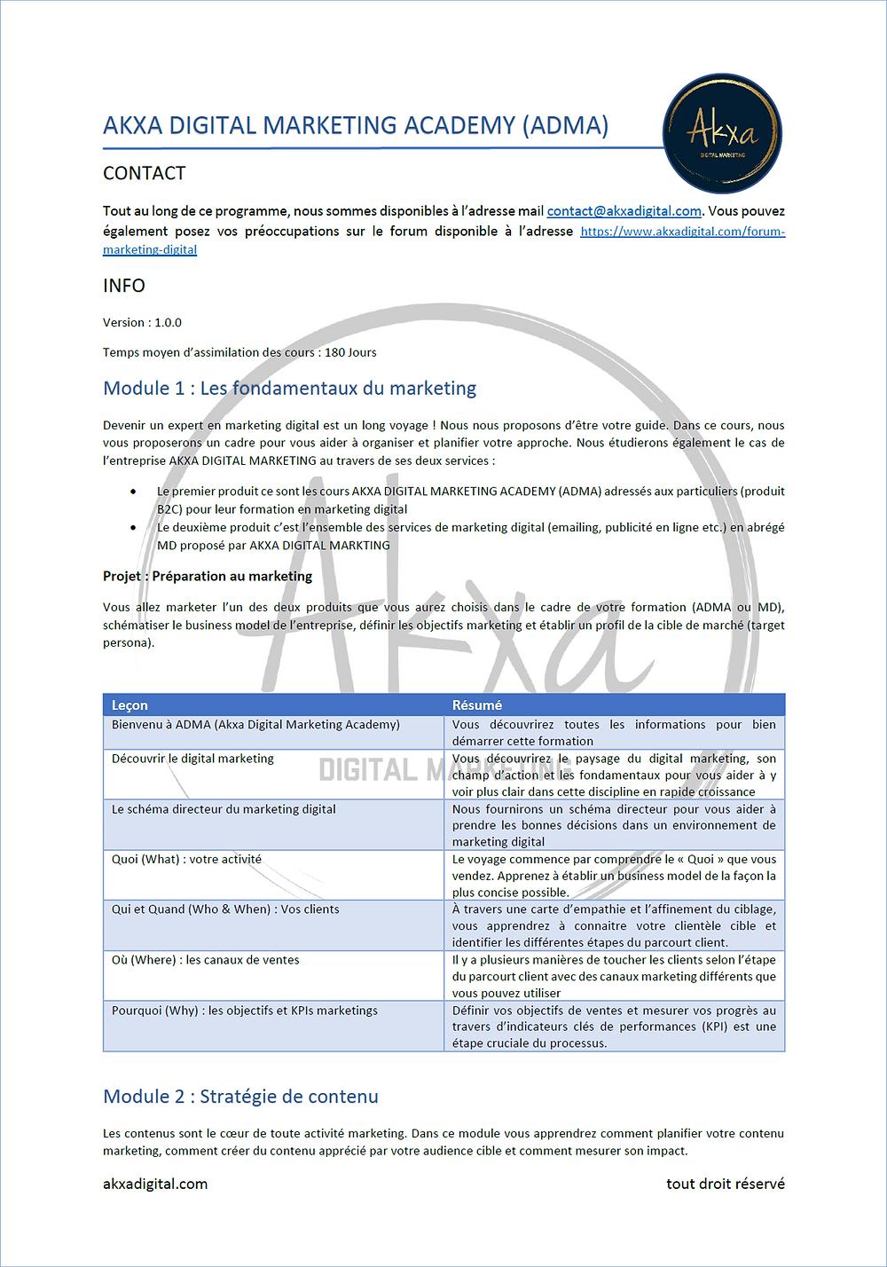 syllabus du programme ADMA (Akxa Digital Marketing Academy)