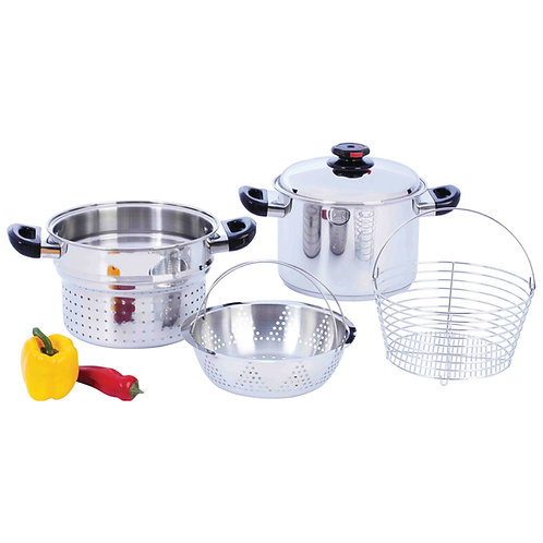 8qt T304 Stainless Steel Stockpot/Spaghetti Cooker with Deep Fry Basket & Steame