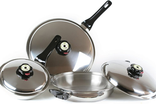 6 PC Gourmet Skillet Set with covers