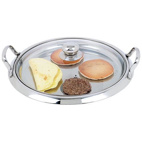 High-Quality Stainless Steel Round Griddle with See-Thru Glass L