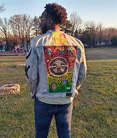 Afrikan Mask denim jacket comission piece for local community organizer.