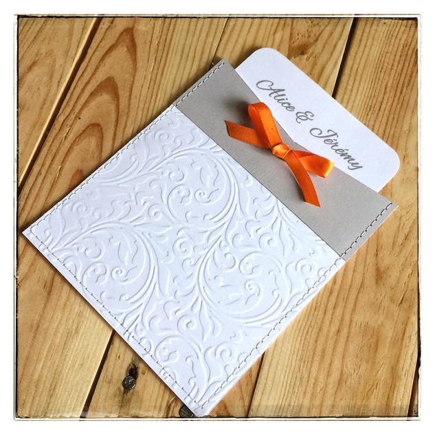 faire part mariage pochette gris et orange