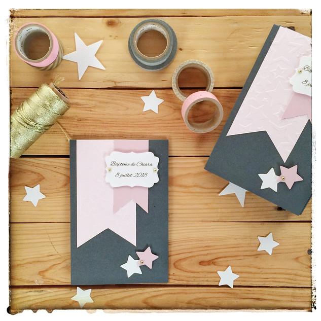 Faire Part Bapteme étoiles gris et rose