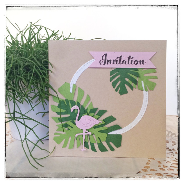 Invitation flamant rose